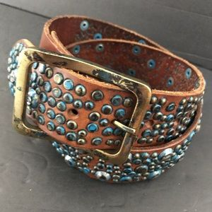 Bed Stu distressed silver turquoise studded belt